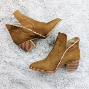 MIA girl Brown Faux Suede Ankle Boots